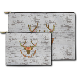 Floral Antler Zipper Pouch (Personalized)