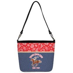 Western Ranch Bucket Bag w/ Genuine Leather Trim (Personalized)