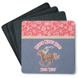 Western Ranch 4 Square Coasters - Rubber Backed (Personalized)