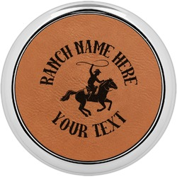 Western Ranch Leatherette Round Coaster w/ Silver Edge - Single or Set (Personalized)