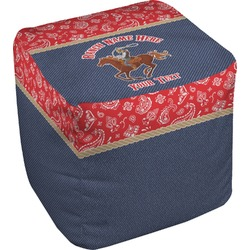 Western Ranch Cube Pouf Ottoman (Personalized)