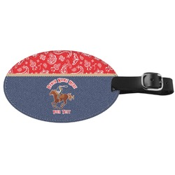 Western Ranch Genuine Leather Oval Luggage Tag (Personalized)