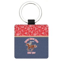 Western Ranch Genuine Leather Rectangular Keychain (Personalized)
