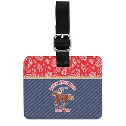 Western Ranch Genuine Leather Rectangular  Luggage Tag (Personalized)