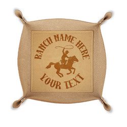 Western Ranch Genuine Leather Valet Tray (Personalized)