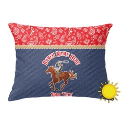 Western Ranch Outdoor Throw Pillow (Rectangular) (Personalized)