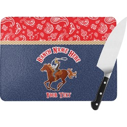 Western Ranch Rectangular Glass Cutting Board (Personalized)