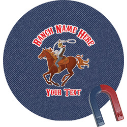Western Ranch Round Magnet (Personalized)