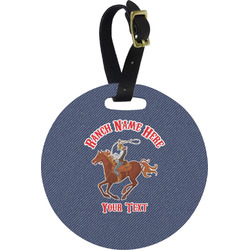 Western Ranch Round Luggage Tag (Personalized)