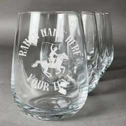 Western Ranch Stemless Wine Glasses (Set of 4) (Personalized)