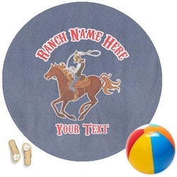 Western Ranch Round Beach Towel (Personalized)