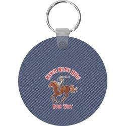 Western Ranch Round Keychain (Personalized)