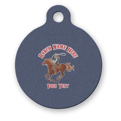 Western Ranch Round Pet ID Tag (Personalized)