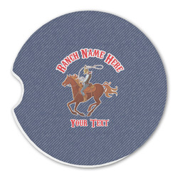Western Ranch Sandstone Car Coasters (Personalized)