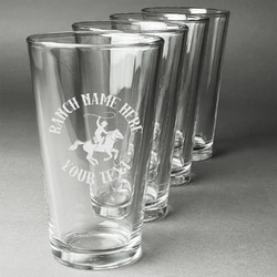 Western Ranch Beer Glasses (Set of 4) (Personalized)