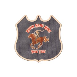 Western Ranch Genuine Maple or Cherry Wood Sticker (Personalized)