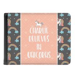 Unicorns Genuine Leather Men's Bi-fold Wallet (Personalized)