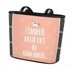 Unicorns Bucket Tote w/ Genuine Leather Trim (Personalized)