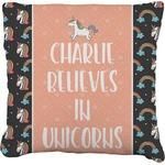 Unicorns Faux-Linen Throw Pillow (Personalized)