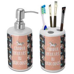 Unicorns Bathroom Accessories Set (Ceramic) (Personalized)