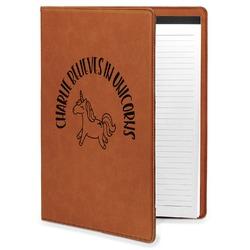 Unicorns Leatherette Portfolio with Notepad - Large - Single Sided (Personalized)