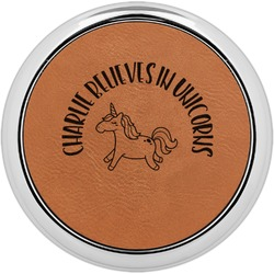 Unicorns Leatherette Round Coaster w/ Silver Edge - Single or Set (Personalized)
