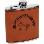 Unicorns Leatherette Wrapped Stainless Steel Flask (Personalized)