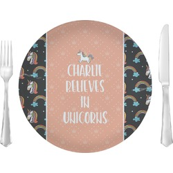 "Unicorns 10"" Glass Lunch / Dinner Plates - Single or Set (Personalized)"