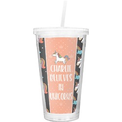 Unicorns Double Wall Tumbler with Straw (Personalized)