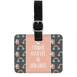 Unicorns Genuine Leather Rectangular  Luggage Tag (Personalized)