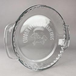 Unicorns Glass Pie Dish - 9.5in Round (Personalized)