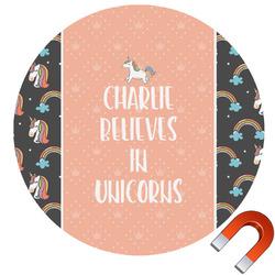 Unicorns Round Car Magnet (Personalized)