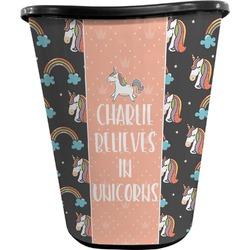 Unicorns Waste Basket - Double Sided (Black) (Personalized)