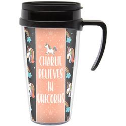 Unicorns Travel Mug with Handle (Personalized)