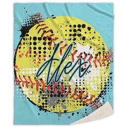 Softball Sherpa Throw Blanket (Personalized)