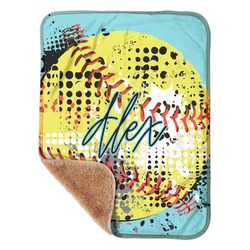"Softball Sherpa Baby Blanket 30"" x 40"" (Personalized)"