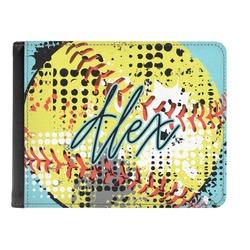 Softball Genuine Leather Men's Bi-fold Wallet (Personalized)
