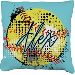 Softball Faux-Linen Throw Pillow (Personalized)