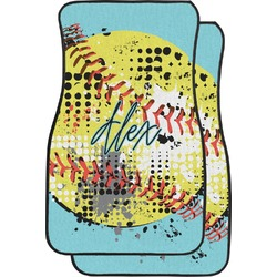 Softball Car Floor Mats (Front Seat) (Personalized)