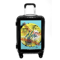 Softball Carry On Hard Shell Suitcase (Personalized)