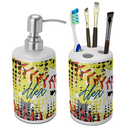 Softball Bathroom Accessories Set (Ceramic) (Personalized)