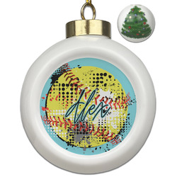 Softball Ceramic Ball Ornament - Christmas Tree (Personalized)