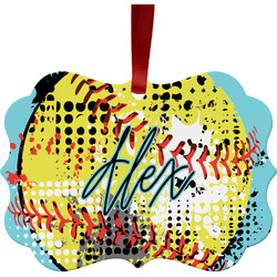 Softball Metal Frame Ornament - Double Sided w/ Name or Text