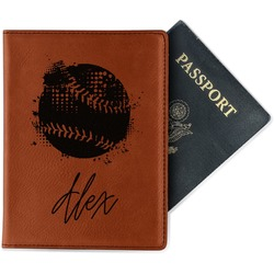 Softball Leatherette Passport Holder - Single Sided (Personalized)