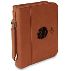 Softball Leatherette Bible Cover with Handle & Zipper - Large- Single Sided (Personalized)