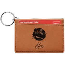Softball Leatherette Keychain ID Holder (Personalized)