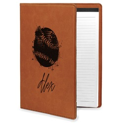 Softball Leatherette Portfolio with Notepad (Personalized)