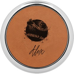 Softball Leatherette Round Coaster w/ Silver Edge - Single or Set (Personalized)
