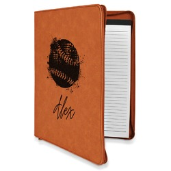 Softball Leatherette Zipper Portfolio with Notepad (Personalized)