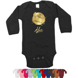 Softball Foil Bodysuit - Long Sleeves - 6-12 months - Gold, Silver or Rose Gold (Personalized)